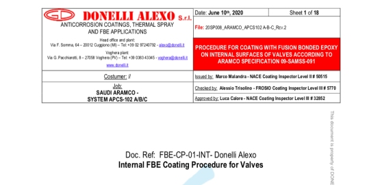 Saudi Aramco approved Donelli Alexo FBE painting procedure